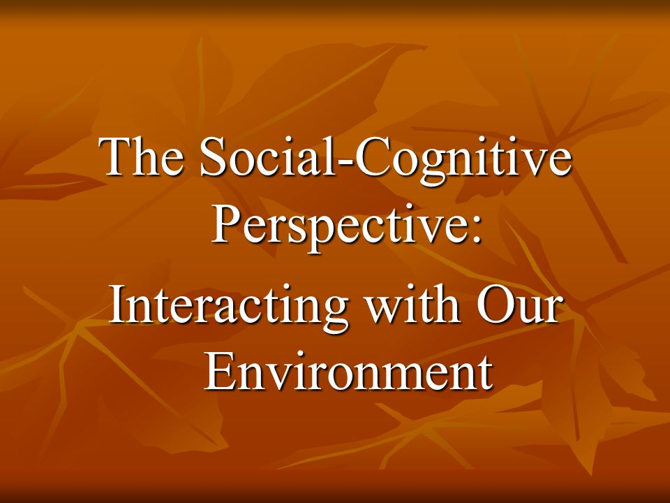 The Social-Cognitive Perspective: Interacting with Our Environment