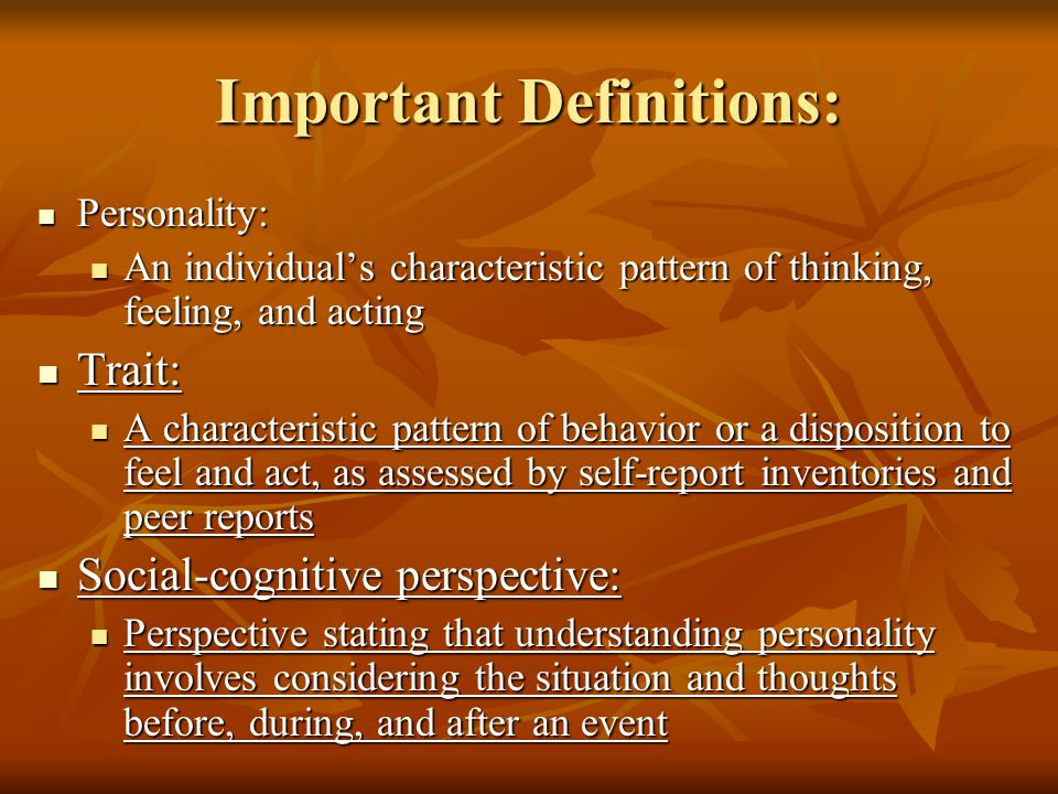 Important Definitions: