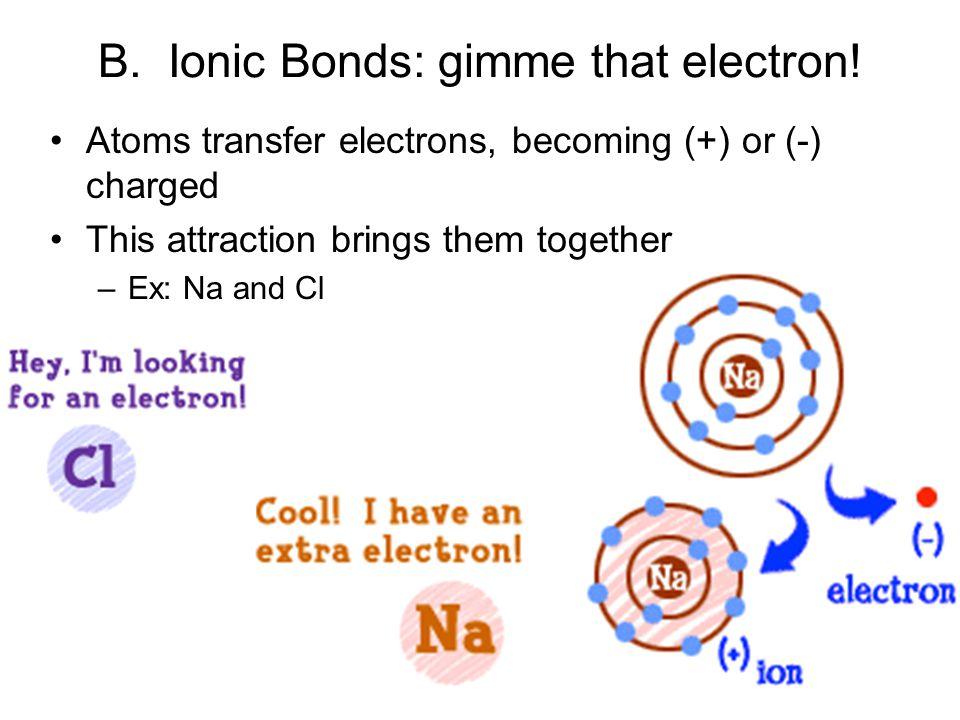 B. Ionic Bonds: gimme that electron!