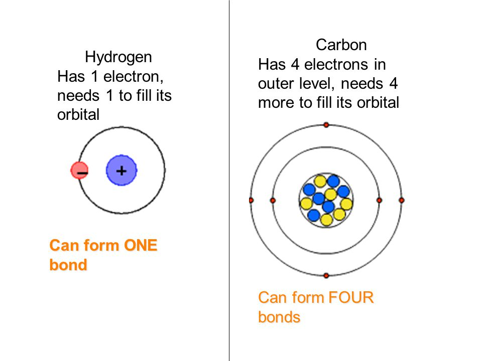 Carbon Has 4 electrons in outer level, needs 4 more to fill its orbital. Hydrogen. Has 1 electron, needs 1 to fill its orbital.