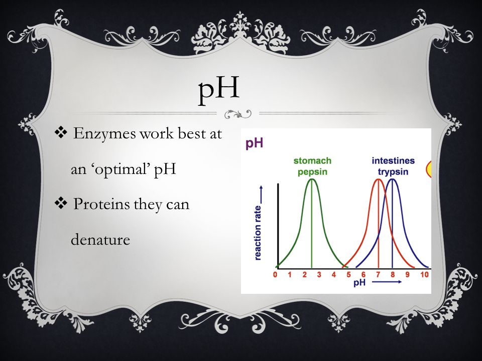 pH Enzymes work best at an 'optimal' pH Proteins they can denature