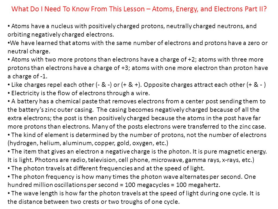What Do I Need To Know From This Lesson – Atoms, Energy, and Electrons Part II