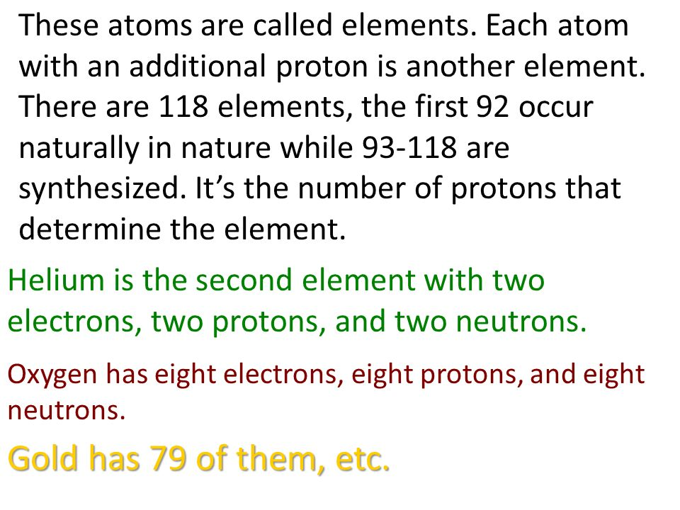 These atoms are called elements