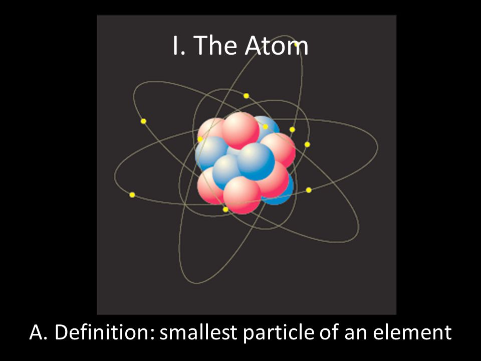 I. The Atom A. Definition: smallest particle of an element