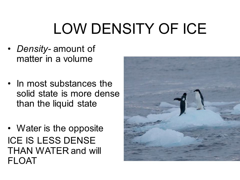 LOW DENSITY OF ICE Density- amount of matter in a volume