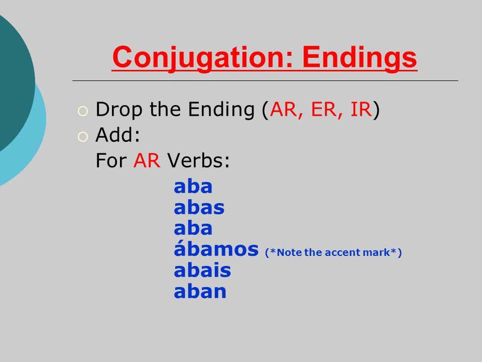 Conjugation: Endings Drop the Ending (AR, ER, IR) Add: For AR Verbs: