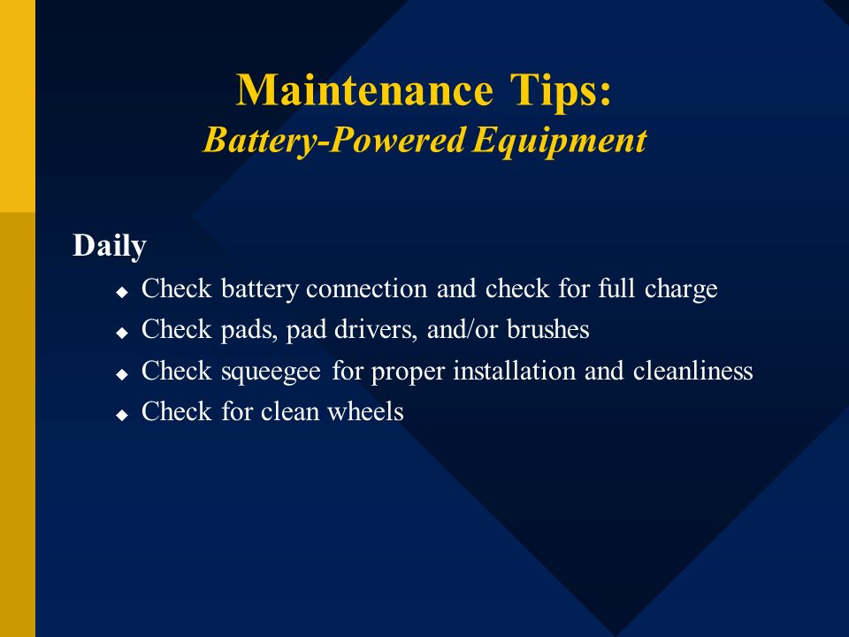 Maintenance Tips: Battery-Powered Equipment