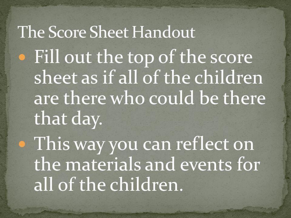 The Score Sheet Handout