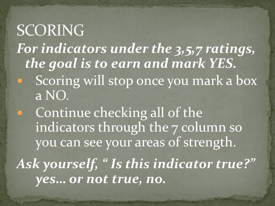 SCORING For indicators under the 3,5,7 ratings, the goal is to earn and mark YES. Scoring will stop once you mark a box a NO.