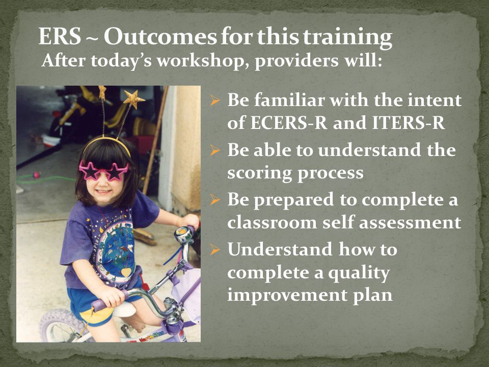 ERS ~ Outcomes for this training