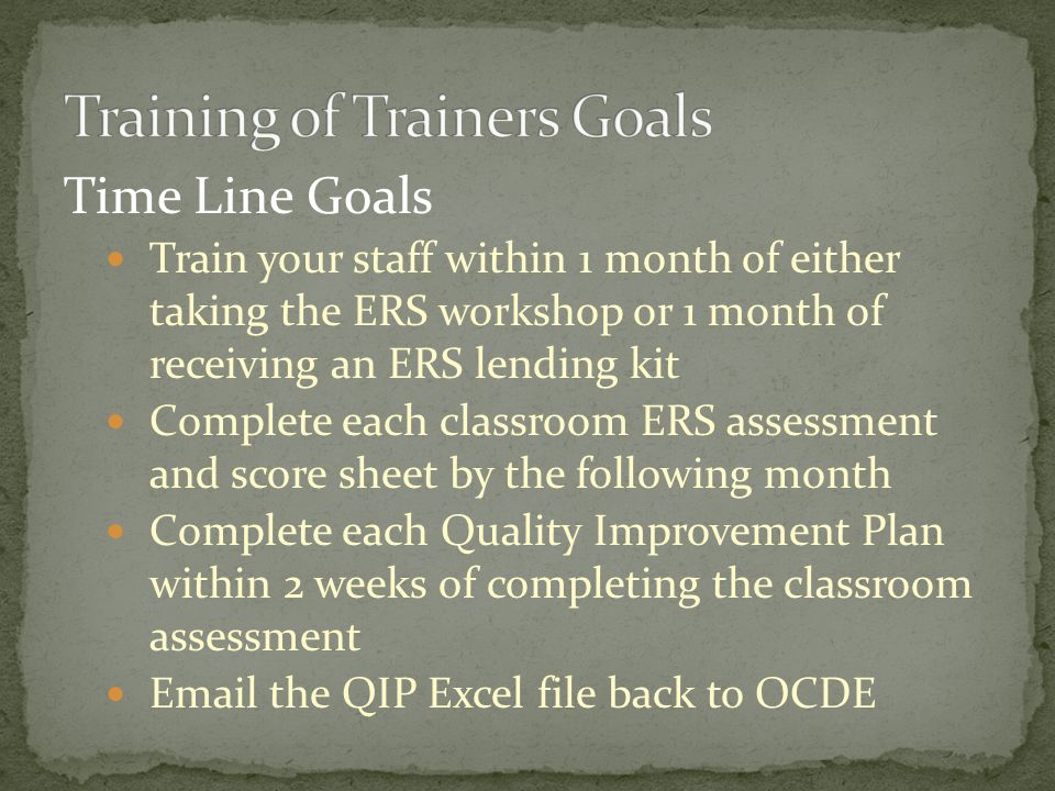 Training of Trainers Goals