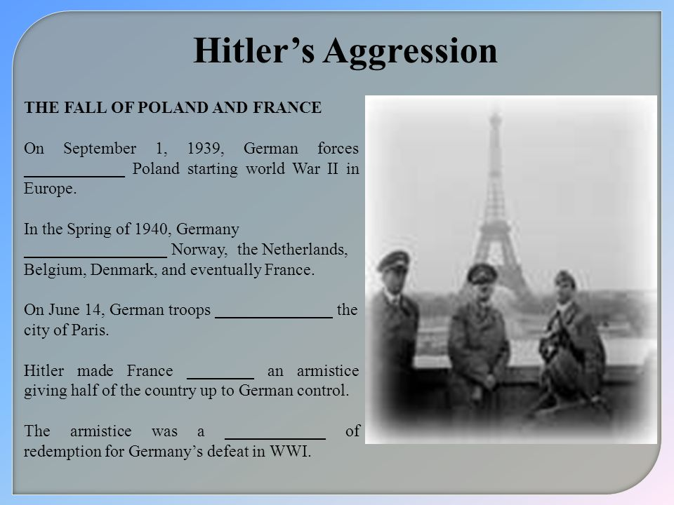 Hitler's Aggression THE FALL OF POLAND AND FRANCE