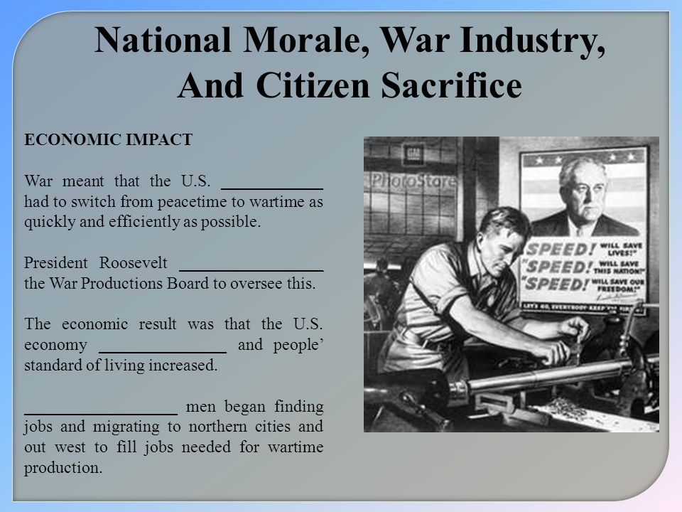 National Morale, War Industry,