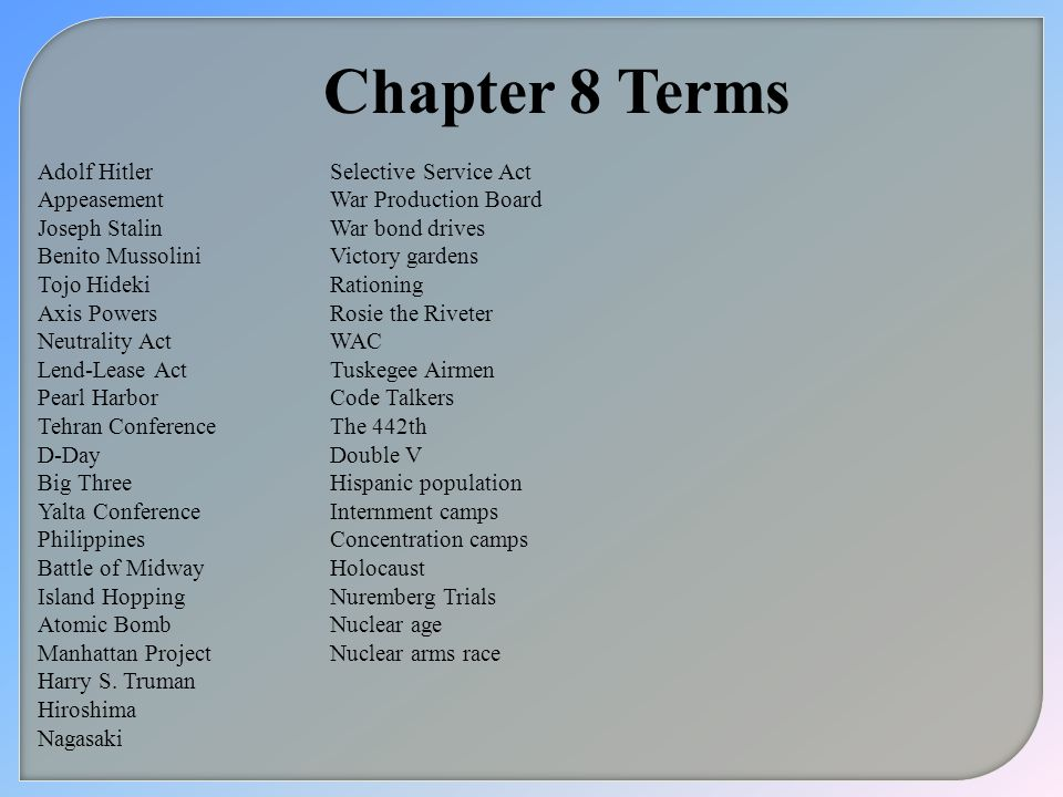 Chapter 8 Terms Adolf Hitler Appeasement Joseph Stalin