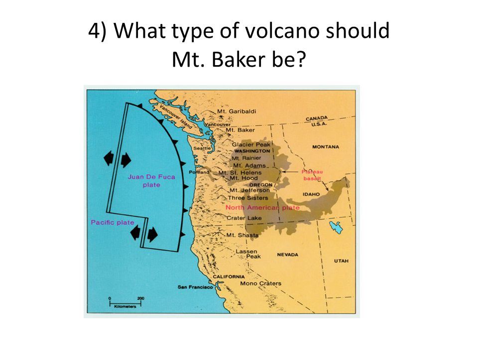4) What type of volcano should Mt. Baker be