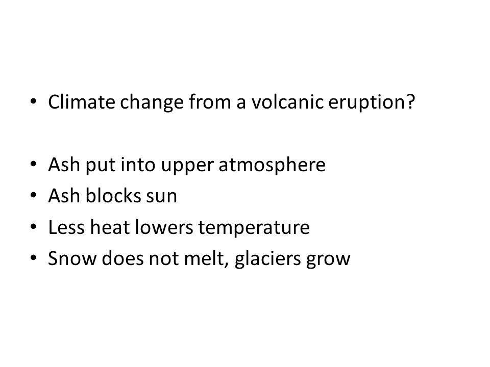 Climate change from a volcanic eruption