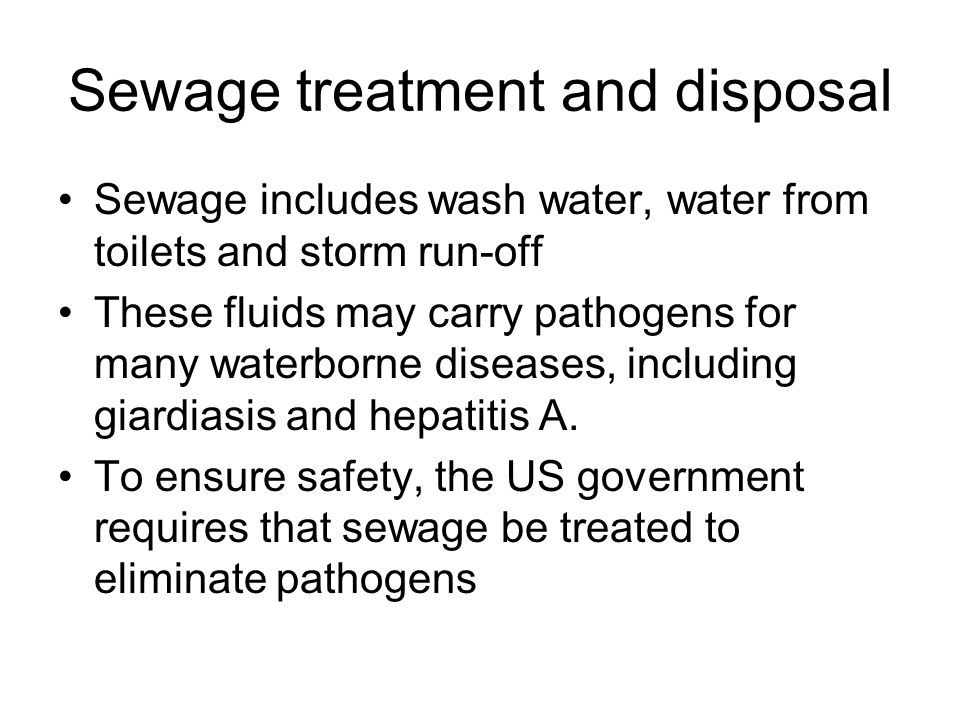 Sewage treatment and disposal