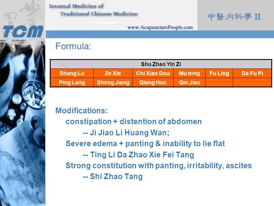 Formula: Modifications: constipation + distention of abdomen