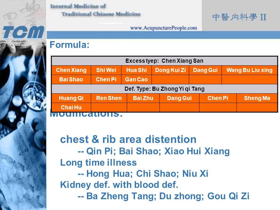 Excess tyep: Chen Xiang San Def. Type: Bu Zhong Yi qi Tang