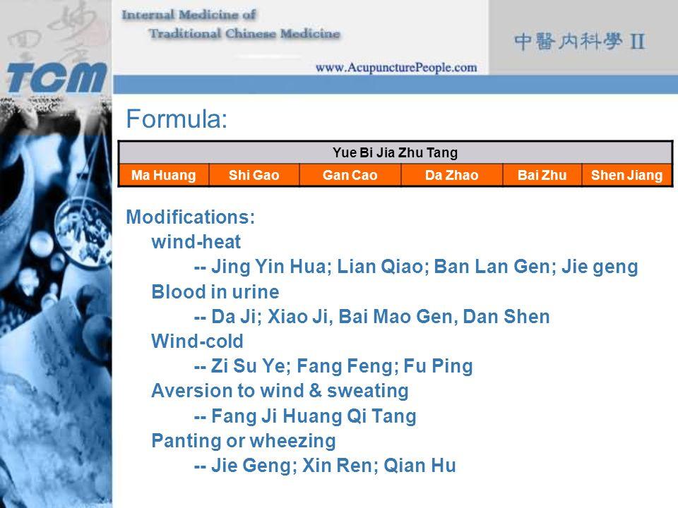 Formula: Modifications: wind-heat