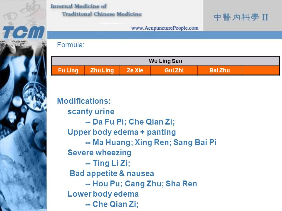 Upper body edema + panting -- Ma Huang; Xing Ren; Sang Bai Pi