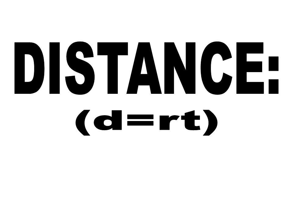 DISTANCE: (d=rt)