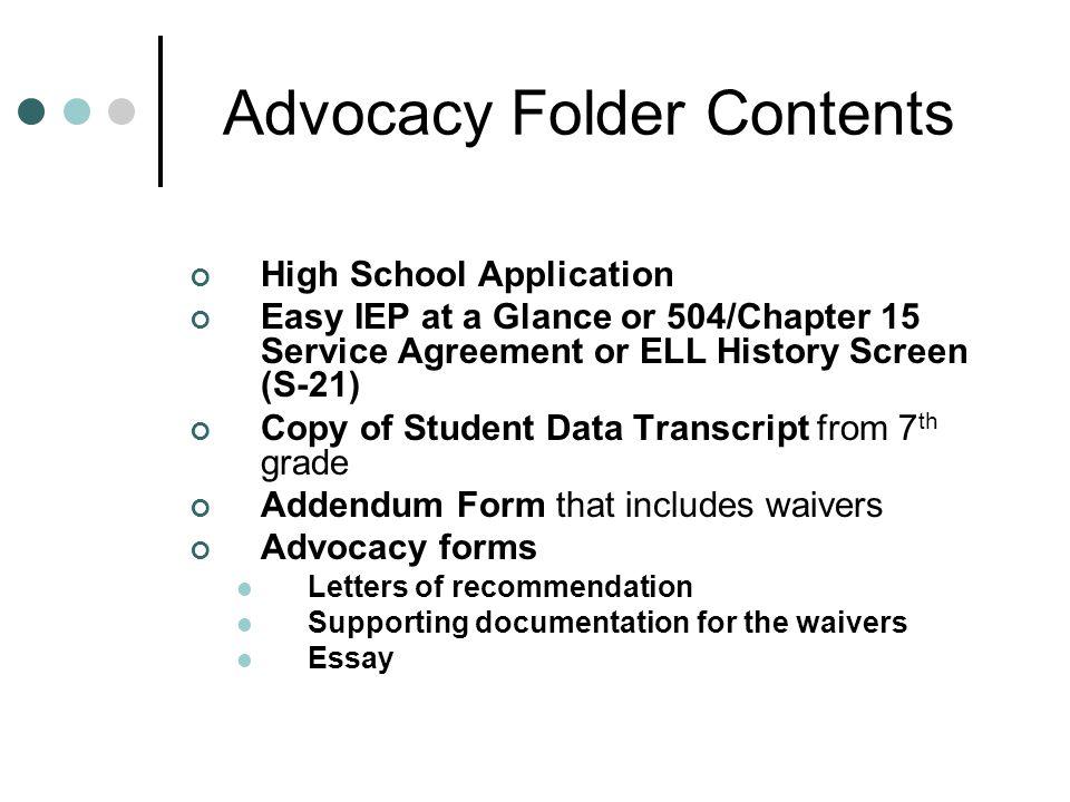 Advocacy Folder Contents