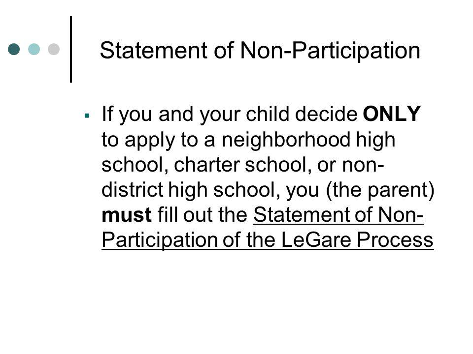 Statement of Non-Participation