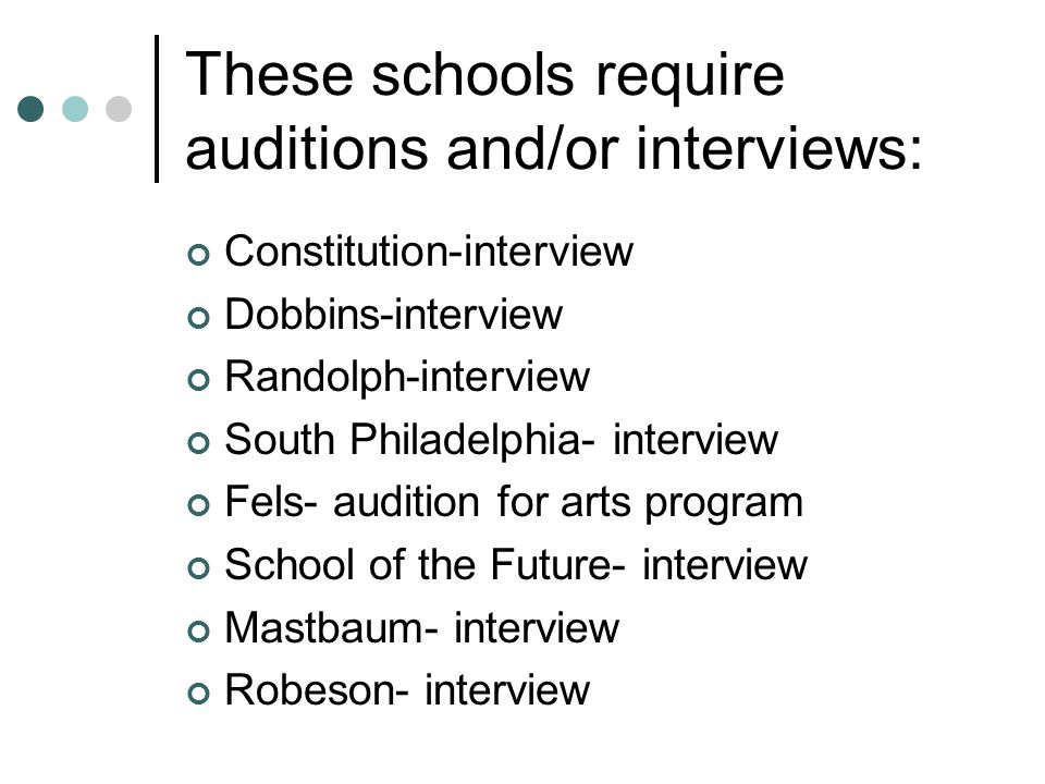 These schools require auditions and/or interviews: