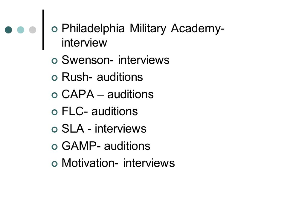 Philadelphia Military Academy- interview