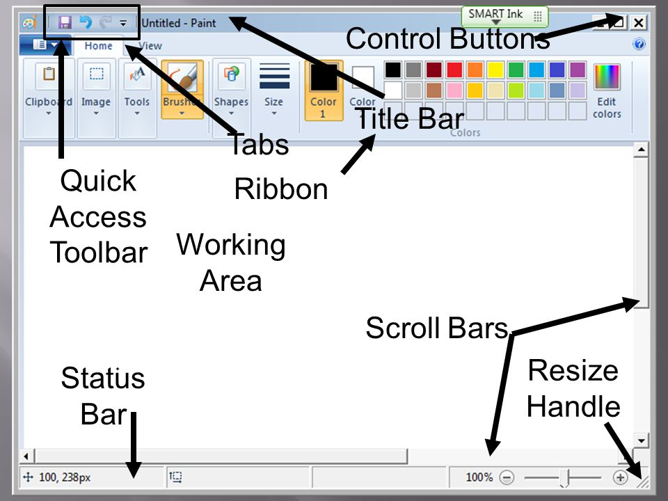 Quick Access Toolbar Title Bar. Control Buttons. Tabs. Ribbon. Working Area. Scroll Bars. Resize Handle.