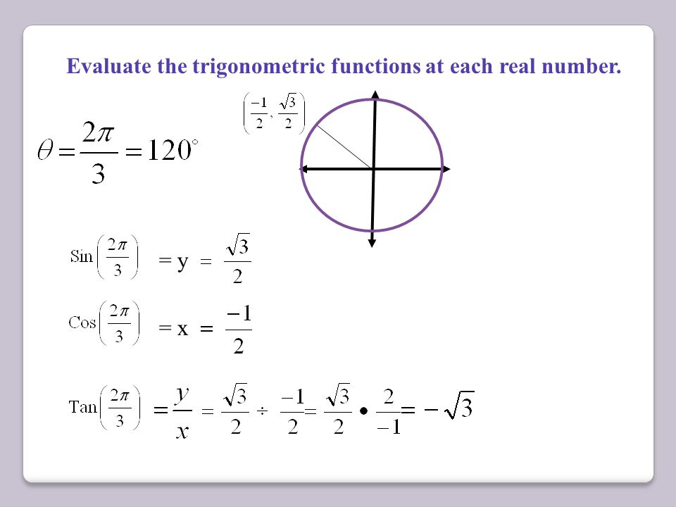 Evaluate the trigonometric functions at each real number.