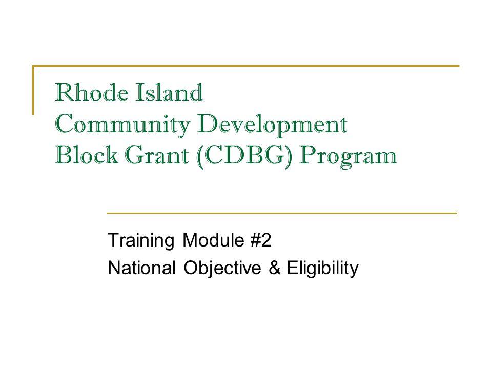Rhode Island Community Development Block Grant (CDBG) Program