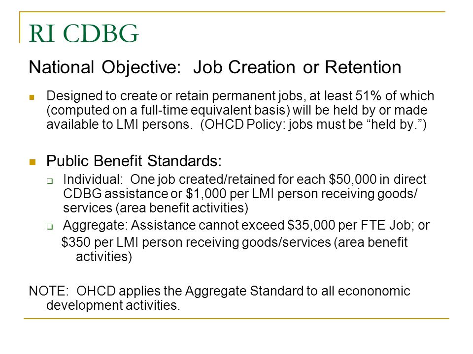 RI CDBG National Objective: Job Creation or Retention