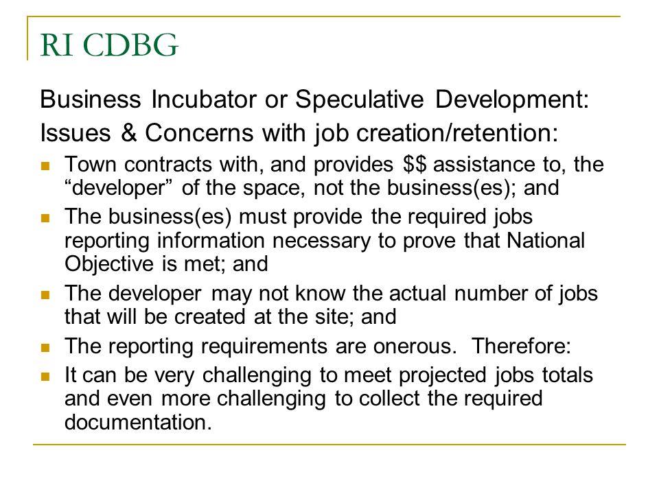 RI CDBG Business Incubator or Speculative Development: