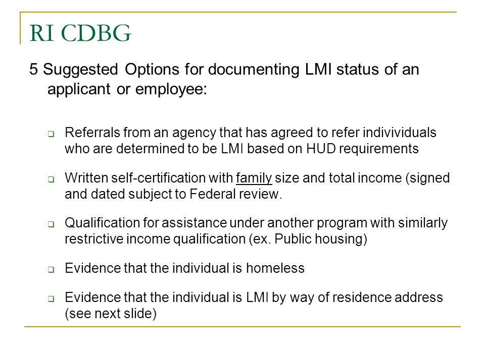 RI CDBG 5 Suggested Options for documenting LMI status of an applicant or employee: