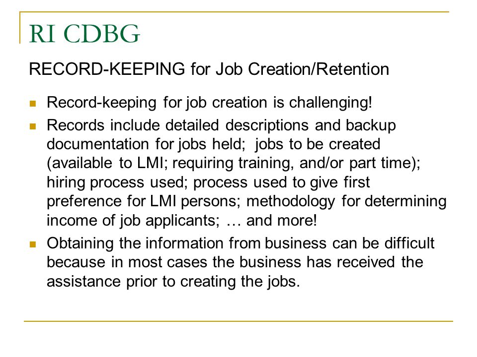 RI CDBG RECORD-KEEPING for Job Creation/Retention