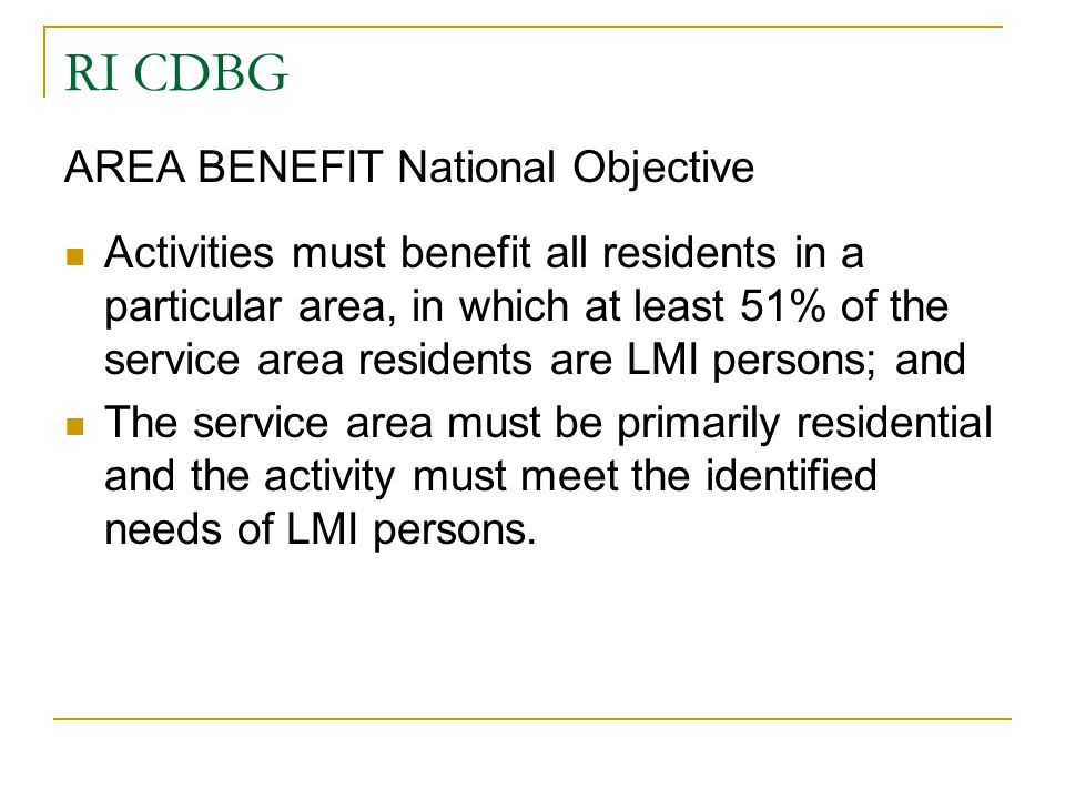RI CDBG AREA BENEFIT National Objective