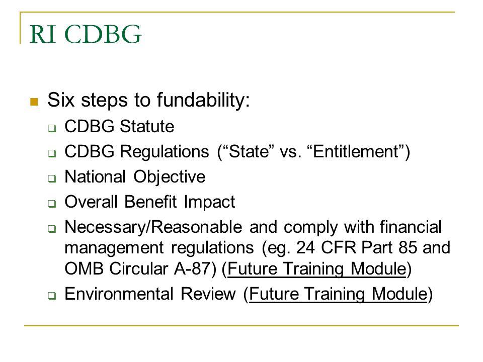 RI CDBG Six steps to fundability: CDBG Statute