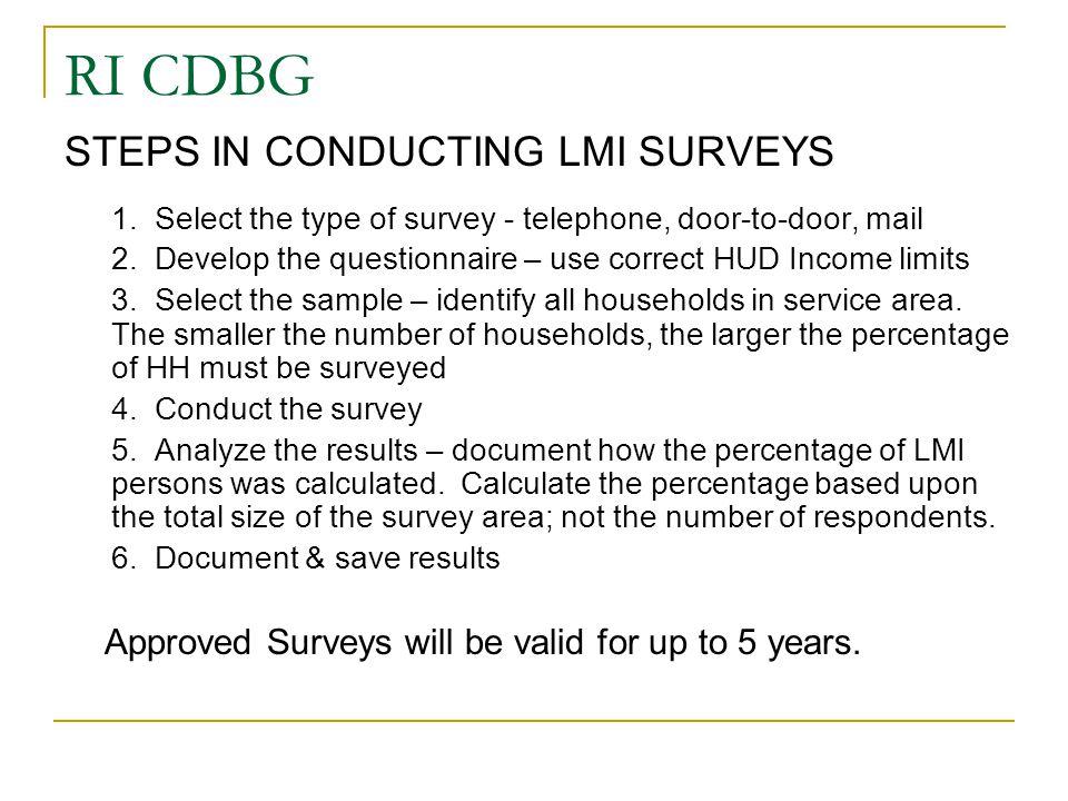 RI CDBG STEPS IN CONDUCTING LMI SURVEYS