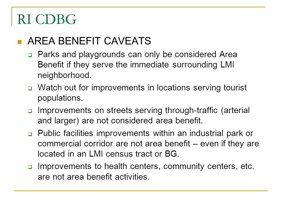 RI CDBG AREA BENEFIT CAVEATS
