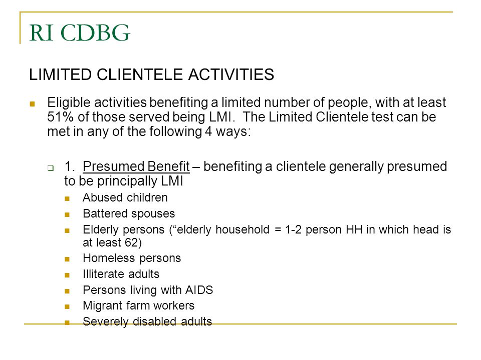 RI CDBG LIMITED CLIENTELE ACTIVITIES