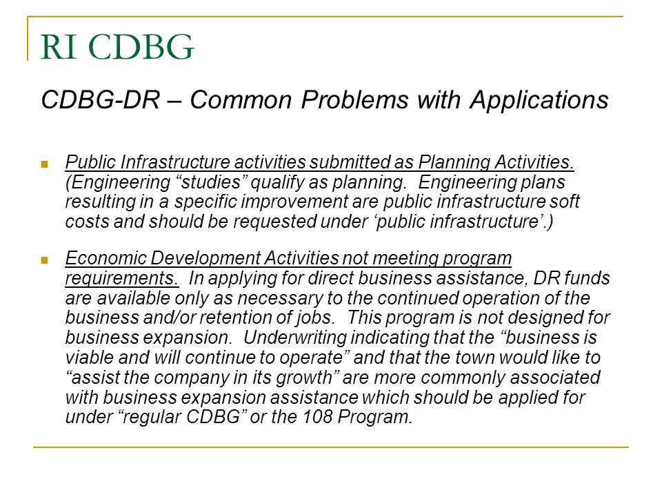 RI CDBG CDBG-DR – Common Problems with Applications