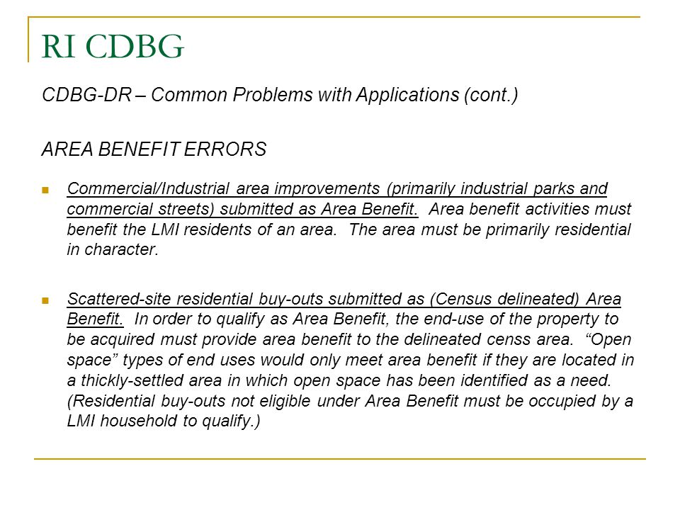 RI CDBG CDBG-DR – Common Problems with Applications (cont.)