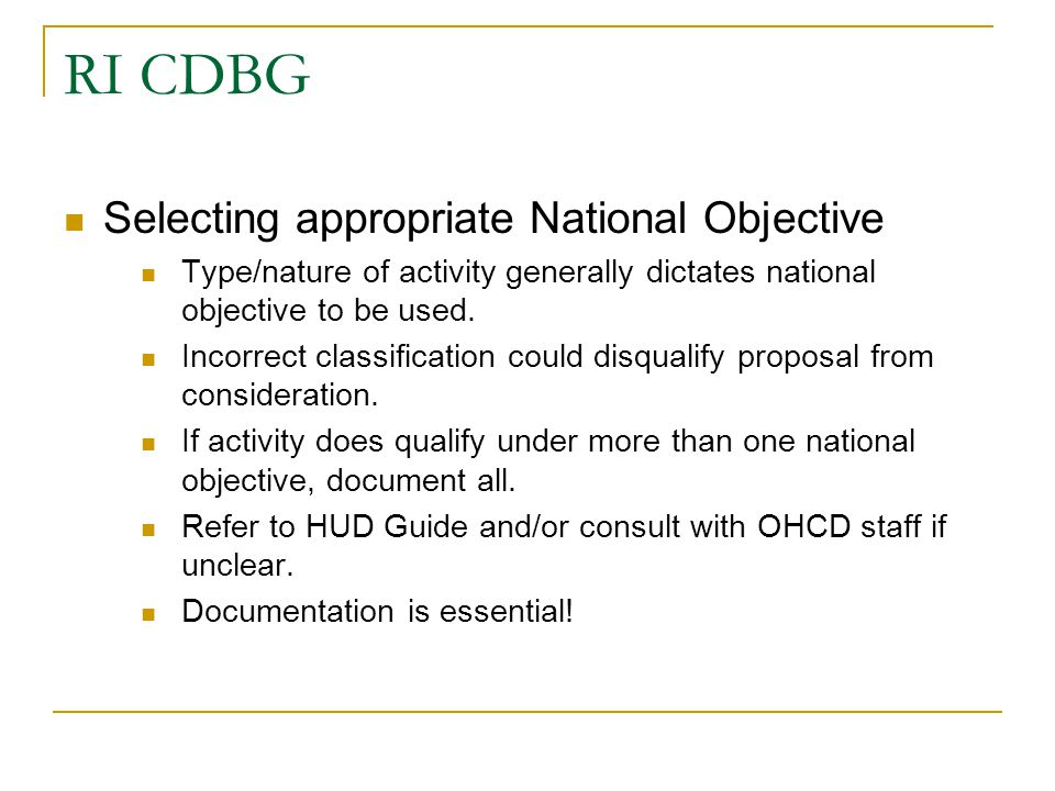 RI CDBG Selecting appropriate National Objective