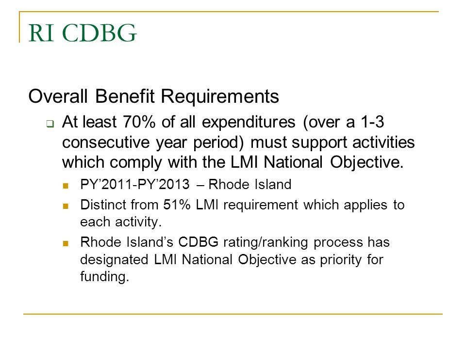 RI CDBG Overall Benefit Requirements