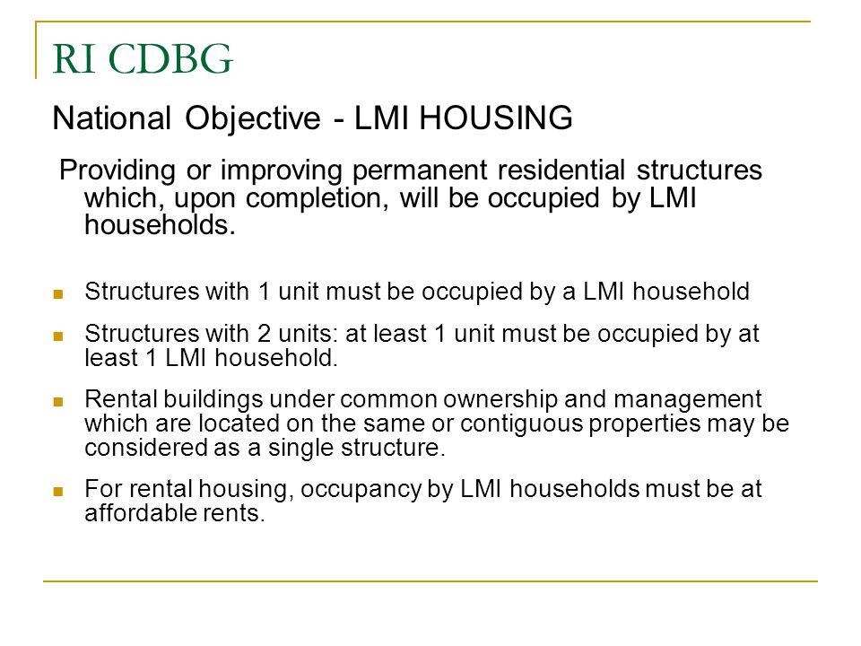 RI CDBG National Objective - LMI HOUSING
