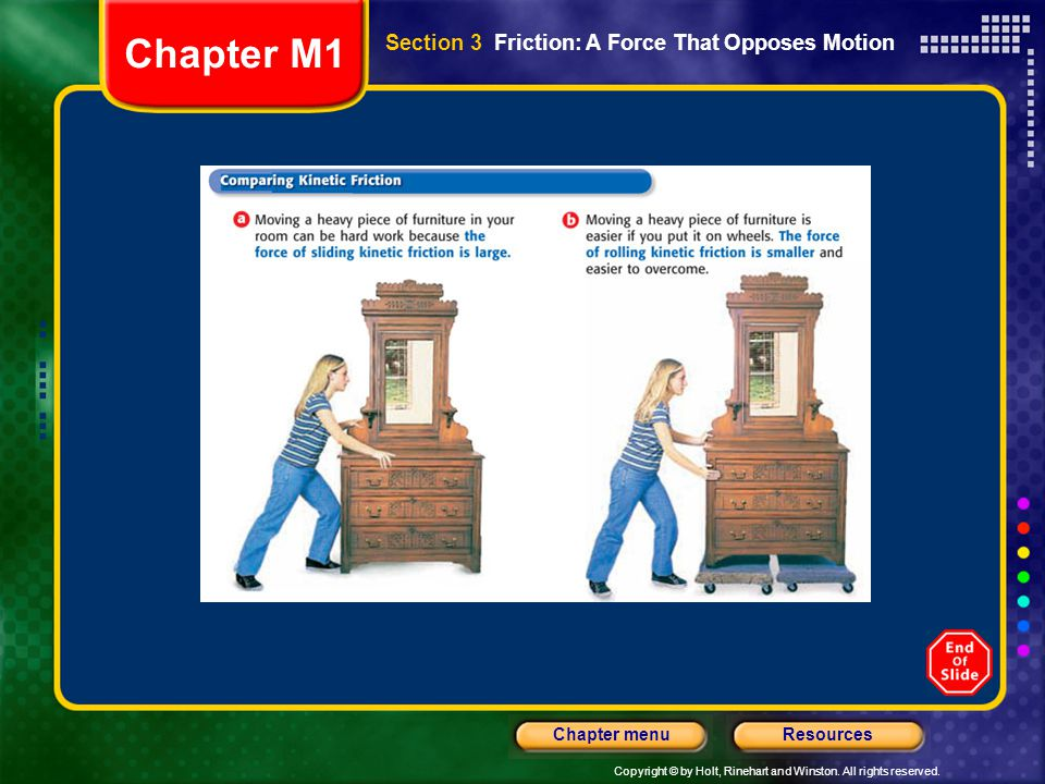 Chapter M1 Section 3 Friction: A Force That Opposes Motion