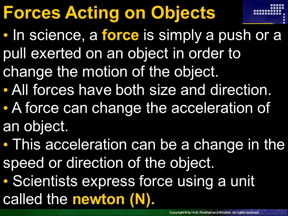 Forces Acting on Objects
