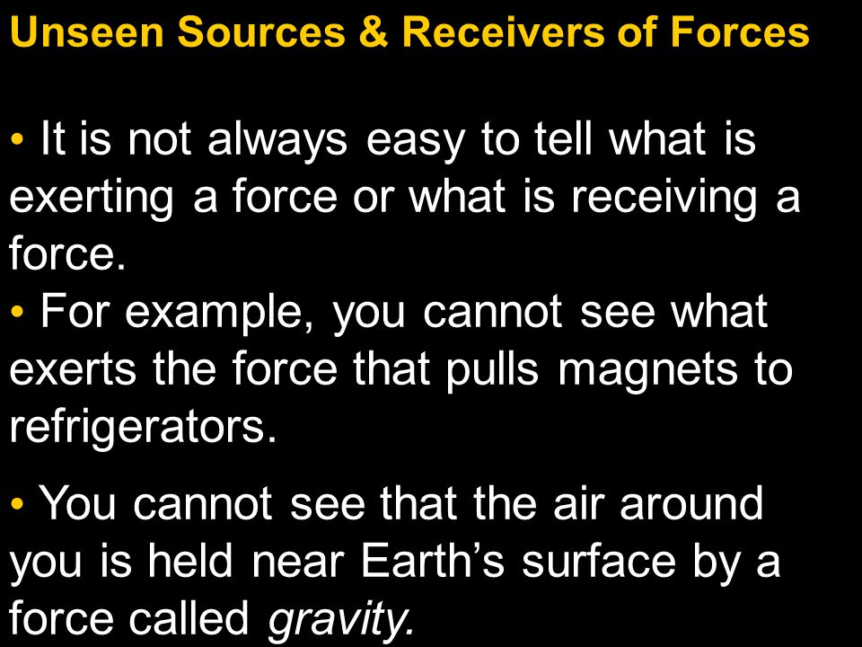Unseen Sources & Receivers of Forces